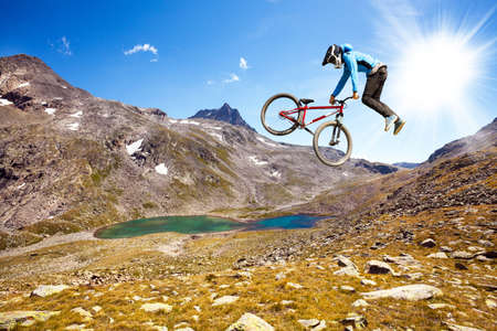 acrobatic aerial jump with mtb