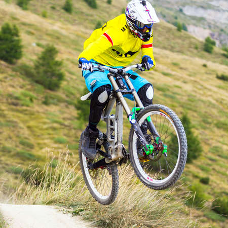 downhill with mtb in the mountain