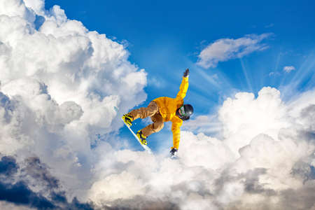 jump with snowboarding in the clouds Stock fotó - 138466794