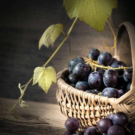 basket with black grapes - still life 写真素材
