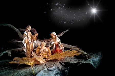 Nativity with comet star - still life Standard-Bild