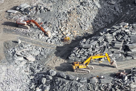 work in the quarry - aerial view