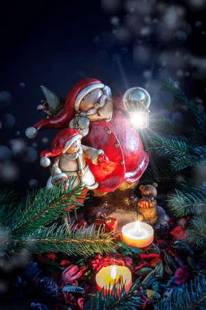Weihnachtsmann mit Laterne - Nahaufnahme