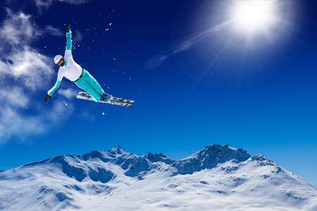 aerials skier in fly - winter sport