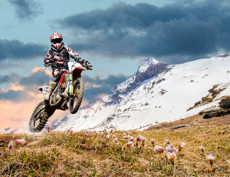 spring motocross in an alpine environment