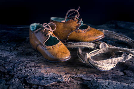 handmade leather shoes - close up Stockfoto