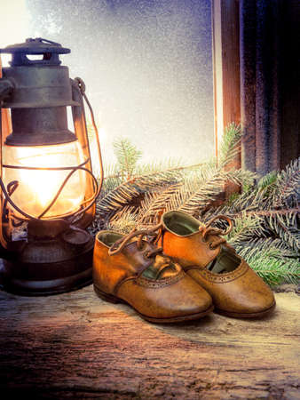 leather shoes on wooden windowsill 스톡 콘텐츠