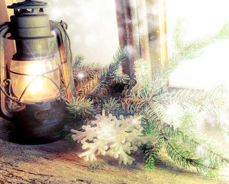 window with old lantern - close up Standard-Bild