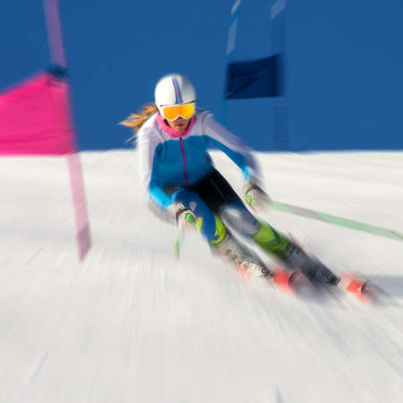 athlete engaged in super g
