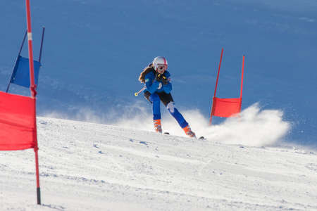 athlete in alpine skiing competition