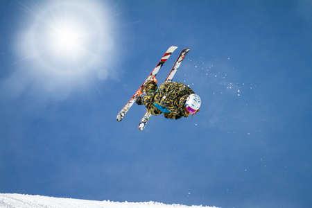 acrobatic freestyle jump on skis