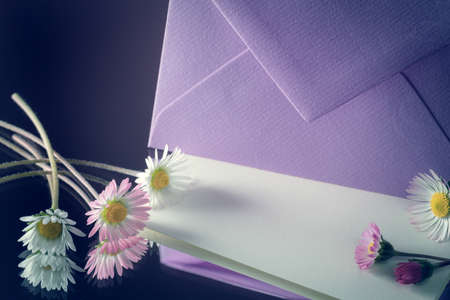 envelope and letter with daisies