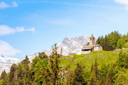 Church of San Romerio (1106) - Poschiavo Valley - Canton of Graubnden - Switzerland 版權商用圖片