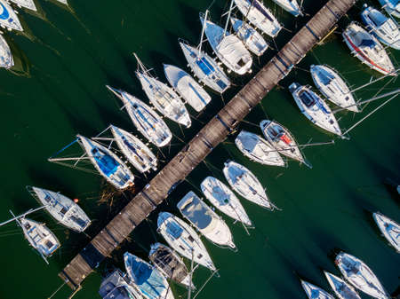 moored yachts and boats - aerial view