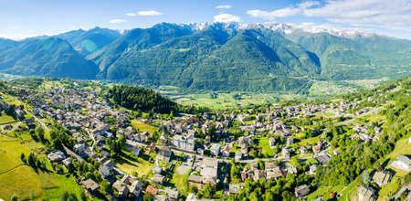 Teglio - Valtellina (IT) - Aerial view Standard-Bild
