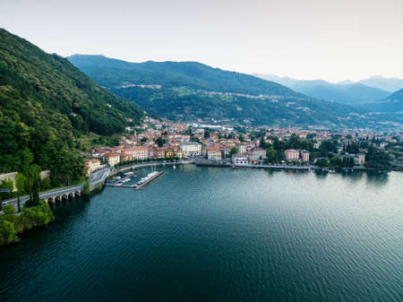 Dongo - Lake Como (IT) - Aerial view at dawn