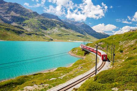 red train - Bernina Pass - Switzerland Archivio Fotografico