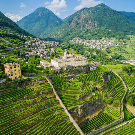 Sondrio - Valtellina (IT) - Aerial overview of the vineyards in Frazione Sant'Anna and Convent of San Lorenzo