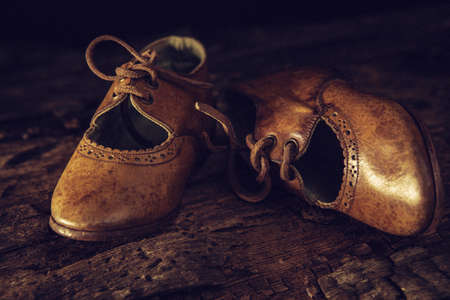 Ancient leather shoes - close up