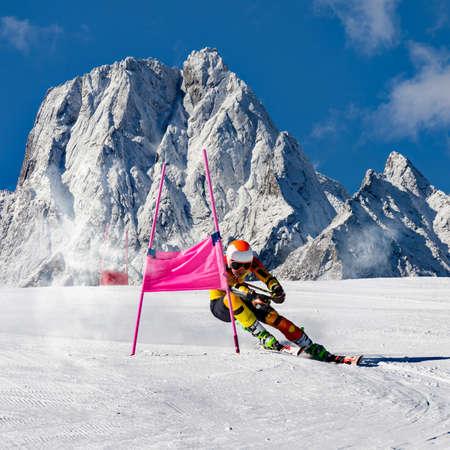 athlete engaged in slalom race Stock fotó