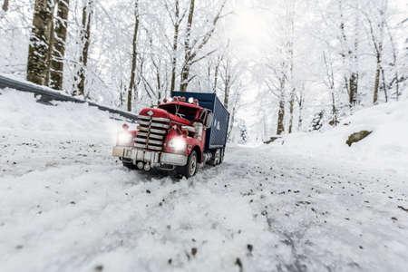 Truck model set in winter landscape