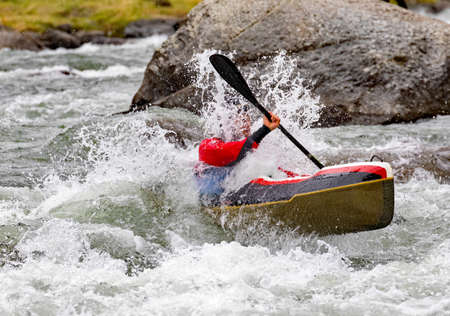 canoe descent through the rapids Stock Photo