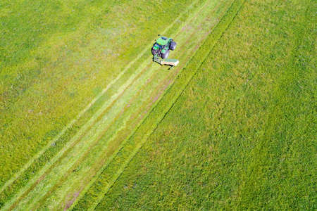 Tractor with tedders - Aerial view