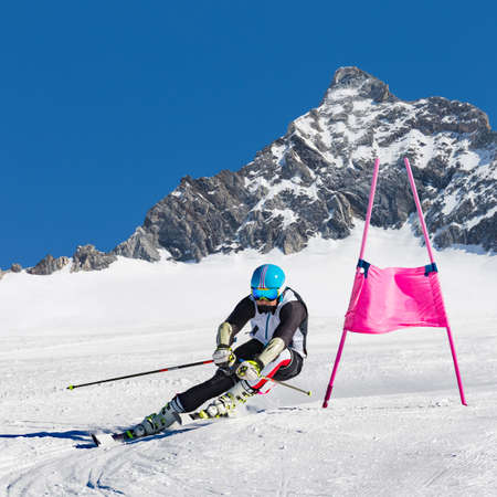 skier in the race of super