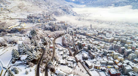 Sondrio, Valtellina (IT), Aerial winter view