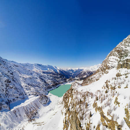 Valmalenco (IT) - Campo Moro Dam - Winter aerial view