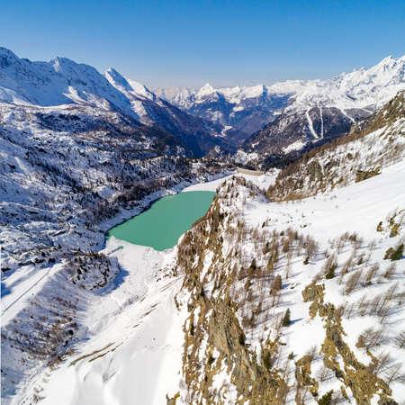 Valmalenco (IT) Campo Moro Dam Winter aerial view