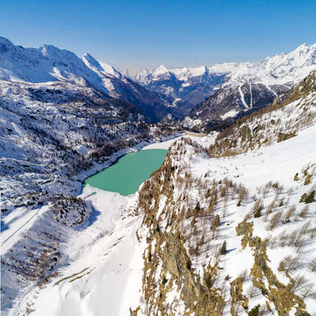Valmalenco (IT) Campo Moro Dam Winter aerial view