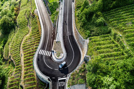 road with hairpin bend in the countryside with vineyards