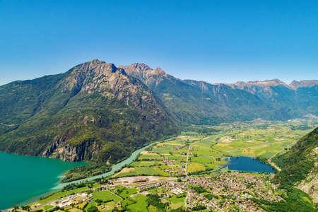 Lake of Novate Mezzola and Pian di Spagna (IT), Panoramic aerial view Imagens