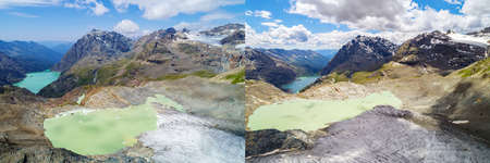 Alta Valmalenco (IT), Aerial view of the Fellaria Orientale glacier, July 2017 - July 2018