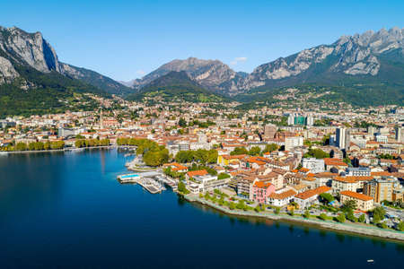 Lecco, Lake Como, Italy, Panoramic aerial view of the city