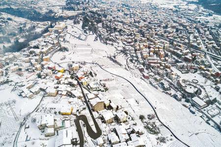 Valtellina (IT), Sondrio, Winter aerial view