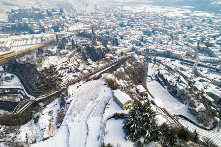 Valtellina (IT), Sondrio, Sant'Anna, Church of S. Bartolomeo, Aerial view