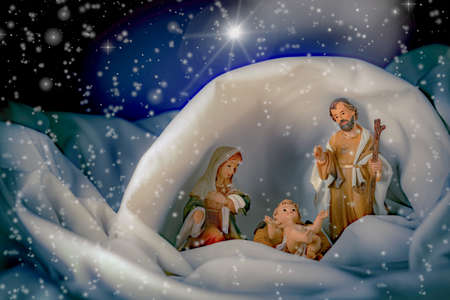 Christmas, Nativity scene with hut and comet