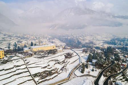 Valtellina (IT), Sondrio, Sant'Anna, Convent of San Lorenzo, Aerial view