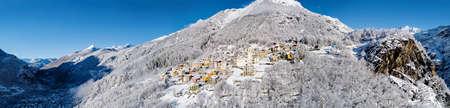 Primolo, Valmalenco (IT), Winter aerial view with fresh snow
