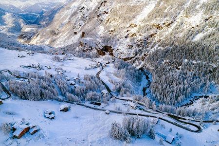 Valmalenco (IT), Winter aerial view, huts in San Giuseppe