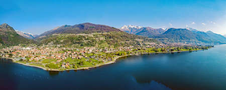 Lake Como (IT), Panoramic aerial view of Dongo and neighboring towns