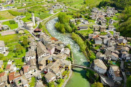 Valtellina (IT), Aerial view of the Boffetto and Carolo villages towards the west
