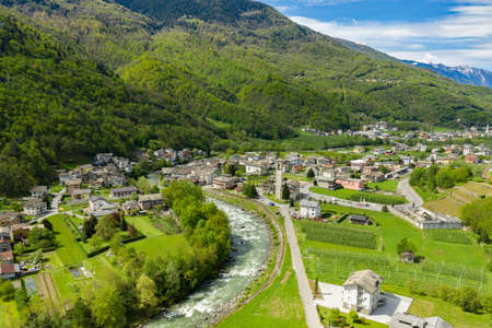 Valtellina (IT), Aerial view of the Boffetto and Carolo villages towards the east