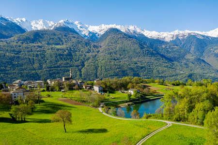 Valtellina (IT), Teglio, Aerial view of the hamlet of Somasassa
