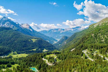 Poschiavo valley, Switzerland, Aerial view of the valley from the Bernina Pass