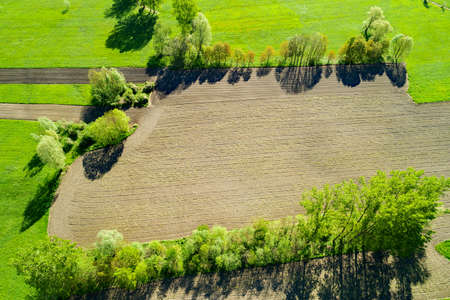 Plowed and cultivated fields, aerial view