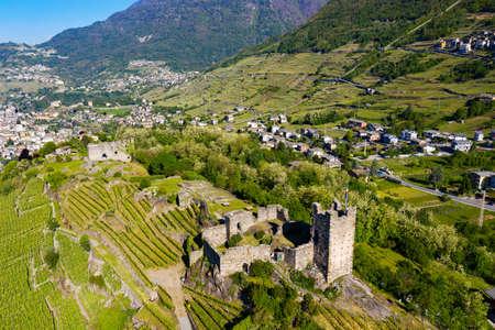 Valtellina (IT), Grumello vineyards near Sondrio, aerial view