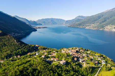 Lake Como (IT), Piona, aerial view towards the south with the village of Olgiasca Archivio Fotografico